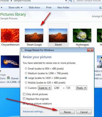 Image Resizer resize complete
