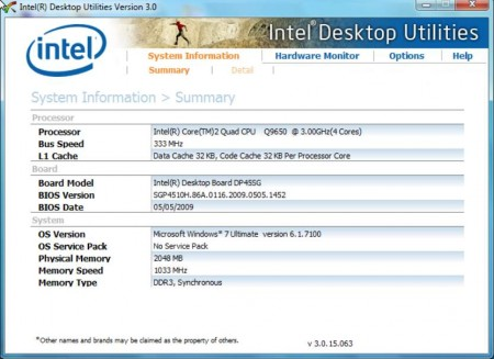 Intel Desktop Utilities system monitoring software default window