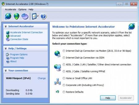 Internet Accelerator default window
