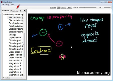 Khan Desktop playing video lesson