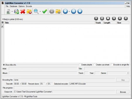 LightMan free audio Converter default window