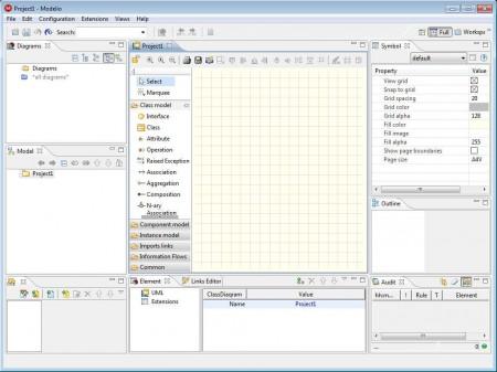 Modelio modeling software default window