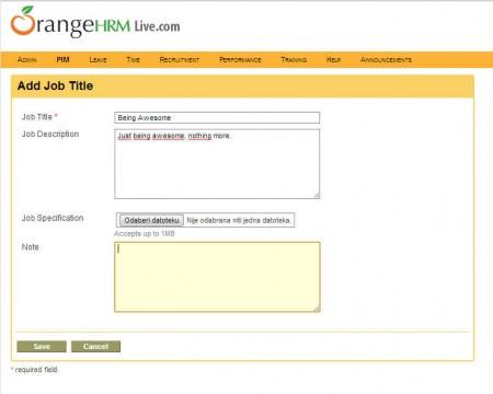 OrangeHRM admin module