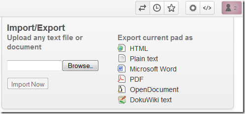 Primarypad-document-import-export