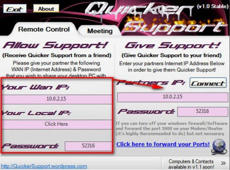 Quicker Support setting up session