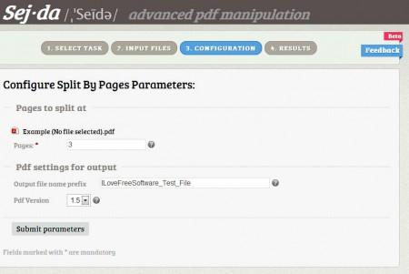 Sejda configuration pdf split online