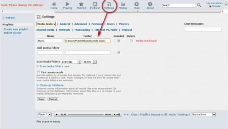 Subsonic sharing folder settings