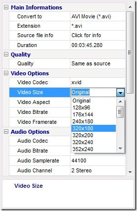 Video to Video Converter options