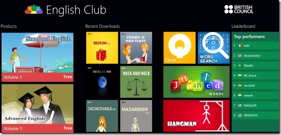 Windows 8 English Learning App