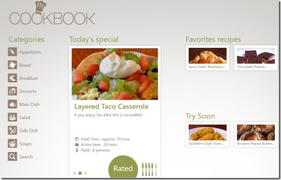 Windows 8 cookbook app