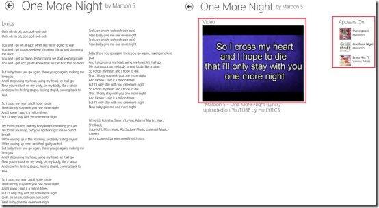 Windows 8 lyrics app