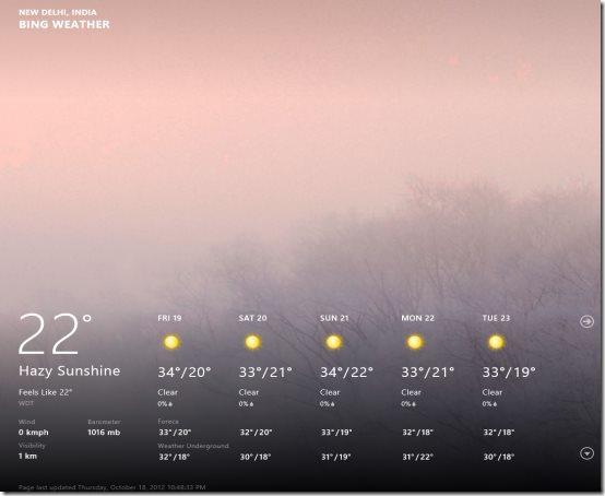 Windows 8 weather app
