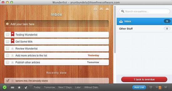 wunderlist interface screenshot