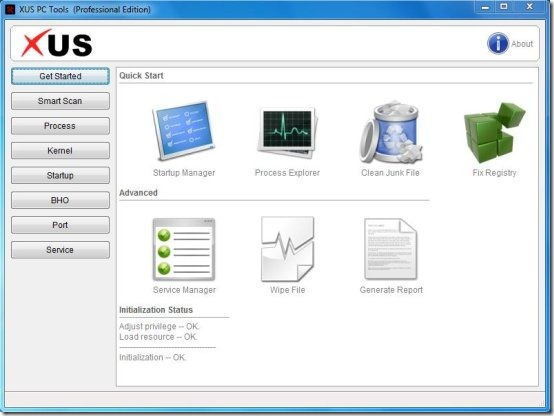 XUS PC Tools started
