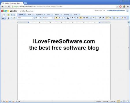 Zoho Writer online word processing service default window