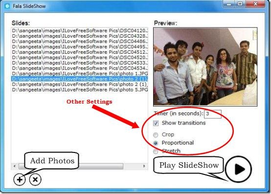 fala slideshow add photos