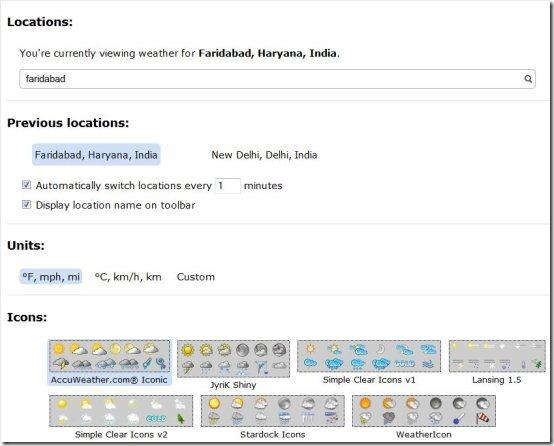 forecastfox weather options