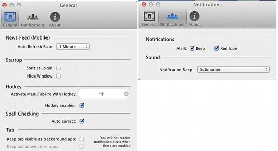 menutab for facebook settings