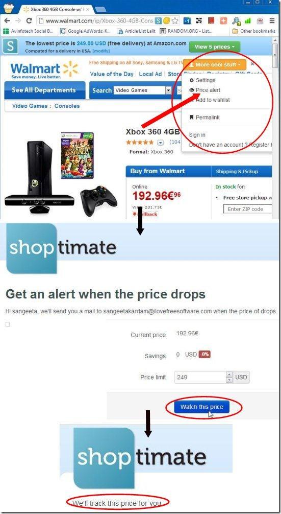 shoptimate price alert