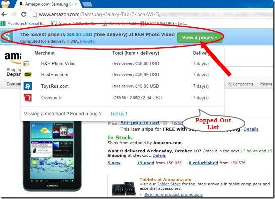 chrome extension amazon price comparison