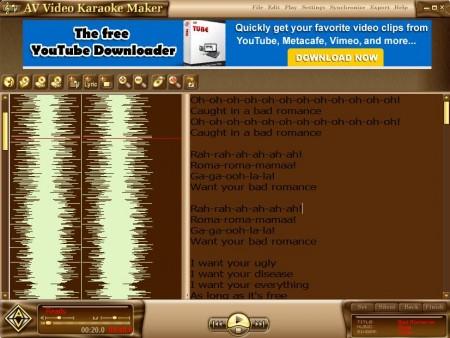 AV Video Karaoke Maker settings