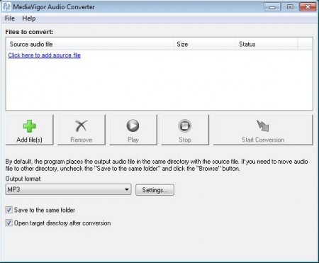 Free Audio Converter default window