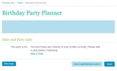 Birthday Party Planning service default window