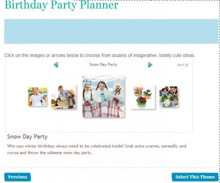 Birthday Party Planner select party theme