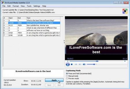 DivXLand Media Subtitler automatic subtitles