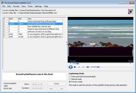 DivXLand Media Subtitler opened files