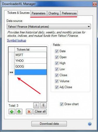 DownloaderXL Free setting tickers