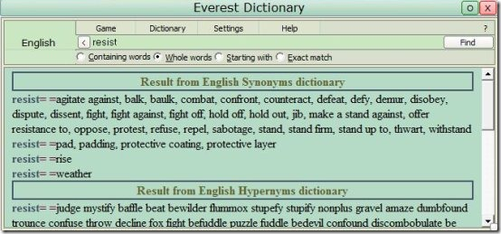 Everest Dictionary interface
