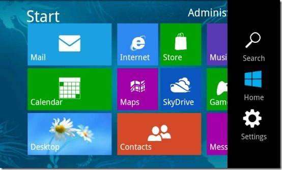 Fake Windows 8 Charm Bar