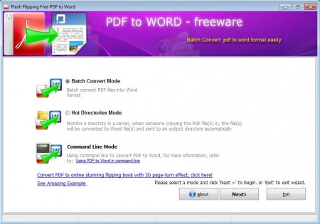 Flash Flipping Free PDF to Word converter default window