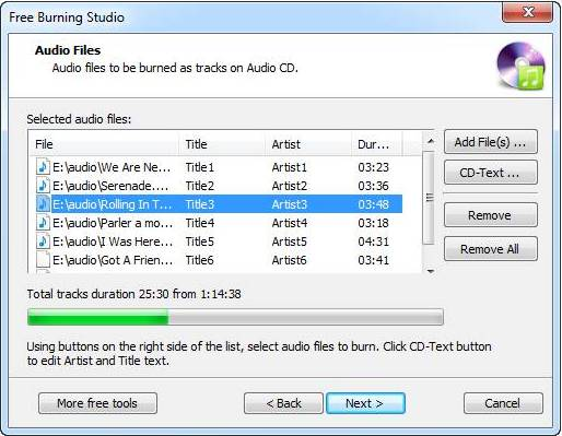 Free Burning Studio creating audio CD