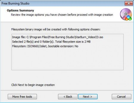 Free Burning Studio creating iso image