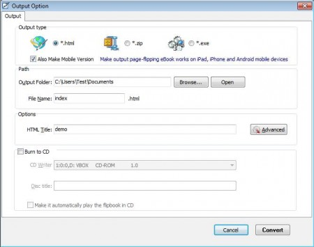 Free Flip OpenOffice exporting flip book