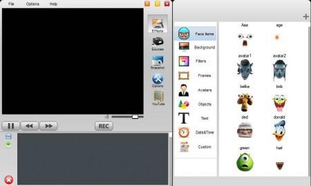 Free Webcam Effects default window