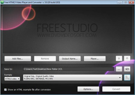 HTML5 Video and Player Converter default window