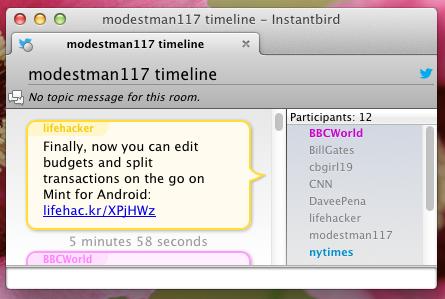 Instantbird twitter integration
