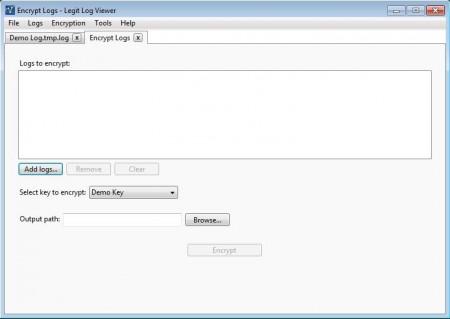 Legit Log Viewer encrypting logs