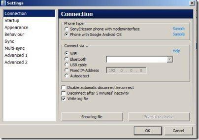 MyPhoneExplorerClient Settings