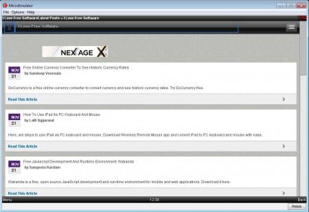 Opera Mini PC version 4 website opened