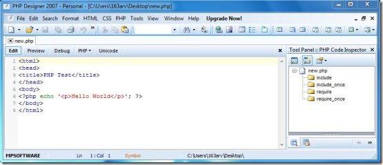 PHP Designer 2007 interface