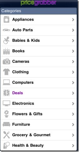 PriceGrabber Categories