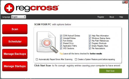 RegCross free registry cleaning software