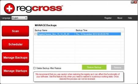 RegCross registry backup