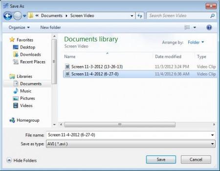 Screen Recorder opened folder