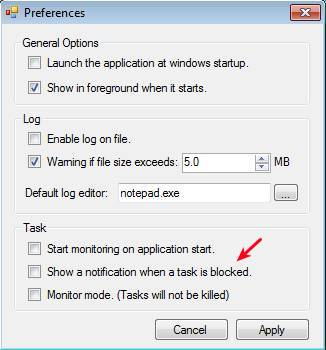 Task Blocker settings