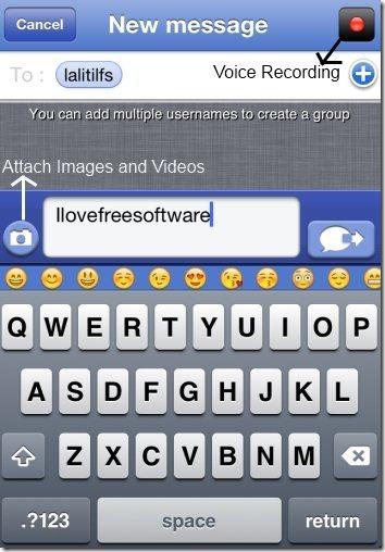 Text Me images, videos, voice recording